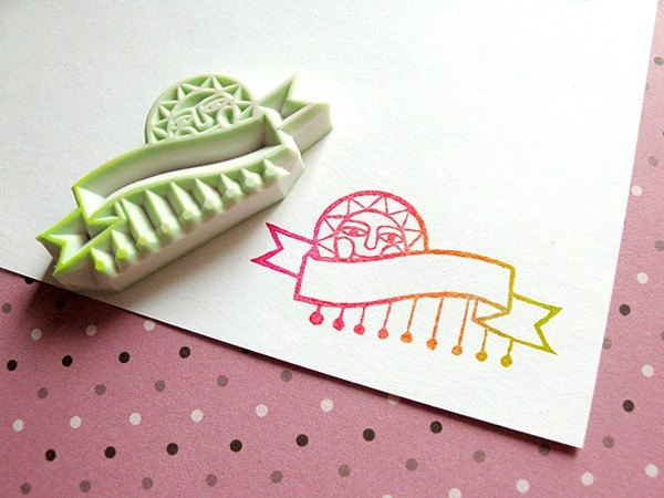 Apu handmade rubber stamps practical solar label seal stamp