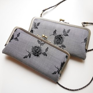 Black Rose knife too small shoulder bag shoulder bag mouth gold / long folder / phone package [Made in Taiwan]