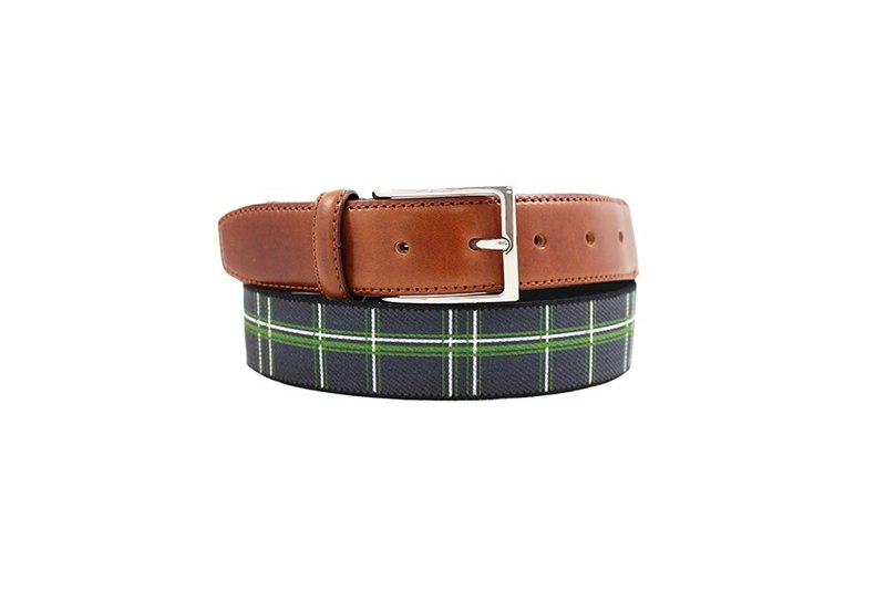 LAPELI │ Belgian elastic fabric belt - hit color vertical gray and green