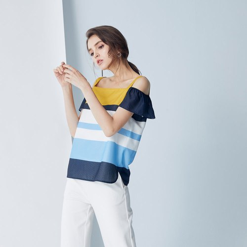 AEVEA Colorful Striped Off Shoulder Ruffle Sleeve Top