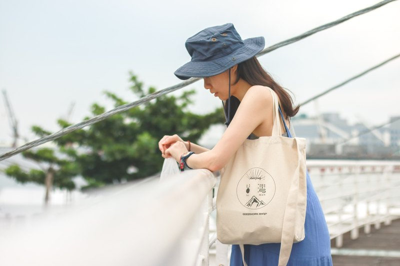 Deerhorn design / antlers Taiwan canvas bag shoulder back side size
