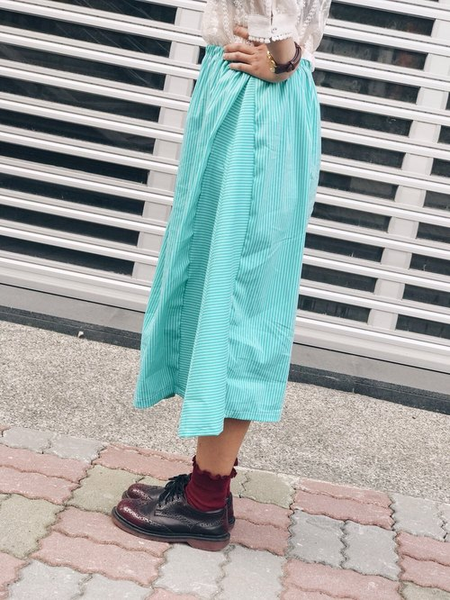 No friends alone // hand wave skirt / round skirt / long skirt / / green striped waltz (new 10% discount)