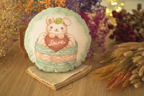 QQ double-sided pillow - macarons rabbit - milk