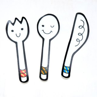 Eat good friends cutlery set: waterproof stickers