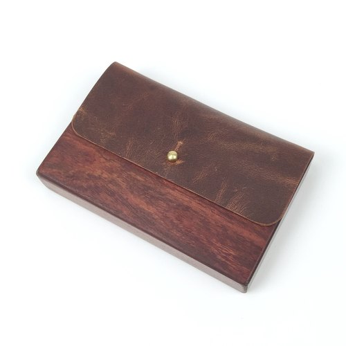 Wood stitching mad horse leather case card brown pure copper buckle hand-sewn leather made of solid wood business card holder