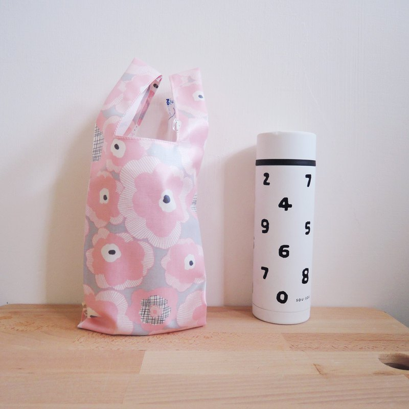 green bag for drinks - Pink flower