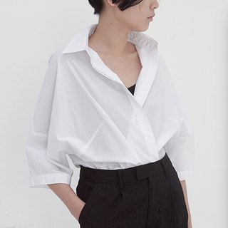 White minimalist sleeve collar profile short shirt coat cotton big lapel mix must-have a cool handsome | Fanta original independent women