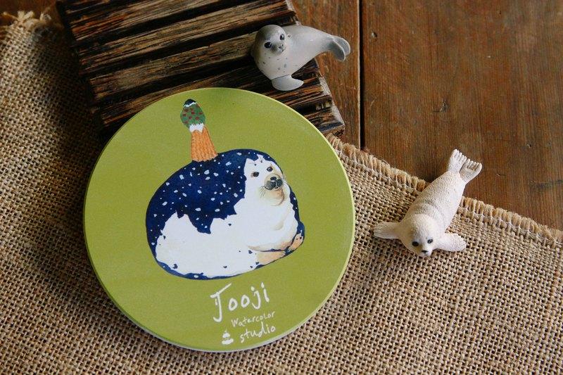 抹茶海狗菇菇杯墊   啾吉手繪水彩   鶯歌陶瓷 客製水彩插畫 禮物
