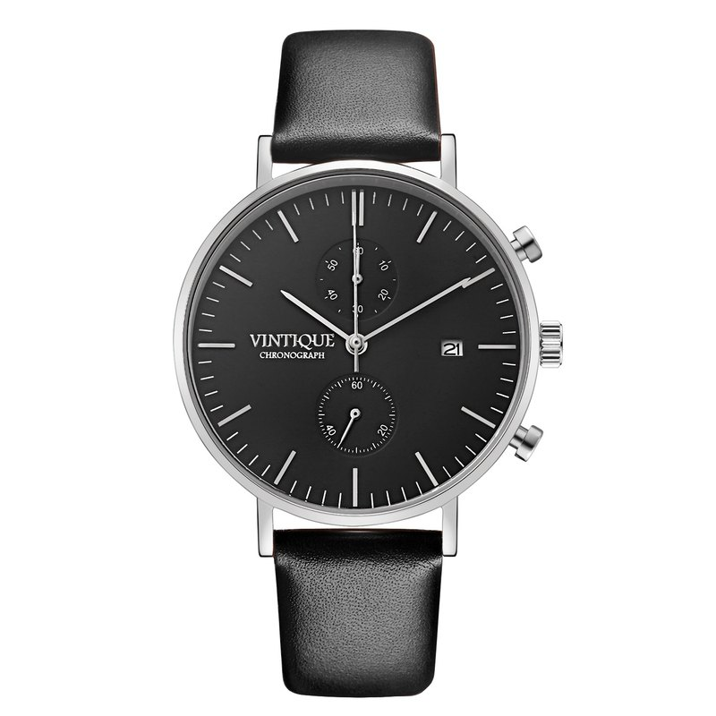 [Vintique] chronograph watch simple design sapphire glass steel stainless steel case leather strap CH-BS01