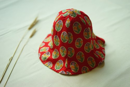 Children's hat -handblock red floral print