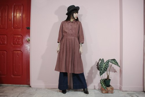 [Vintage dress] (Made in Japan) Pink rhombic pattern exquisite pleated half-breasted vintage dress