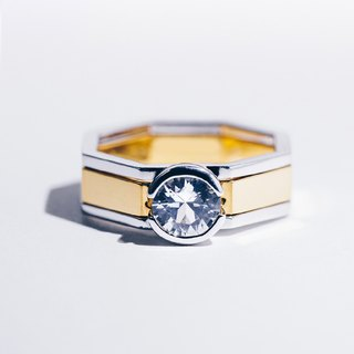 ACROPOLIS | White Sapphire Octagon Pair Rings/Couple Rings/Engagement Ring