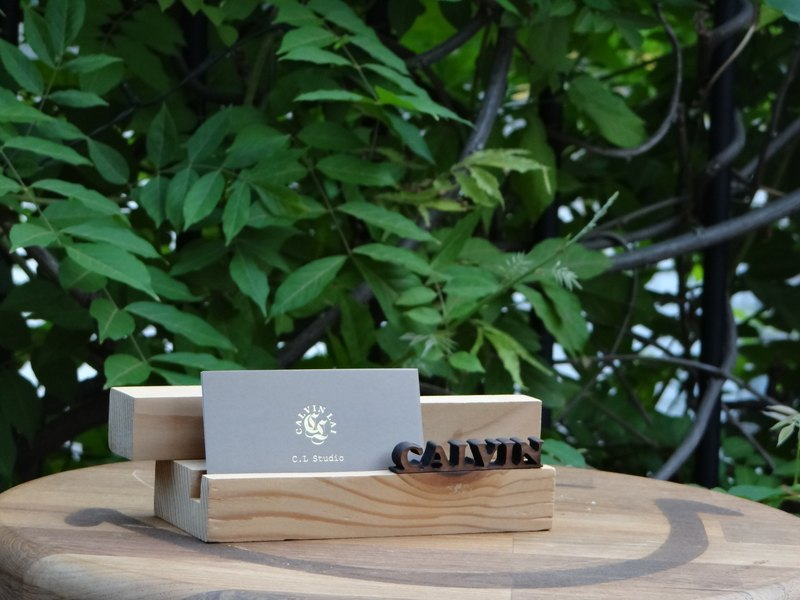 """CL Studio"" [modern simple - geometric style wooden mobile phone holder / business card holder] N6"