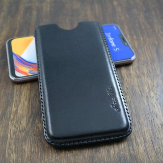 APEE Leather Handmade ~ Plastic Phone Case ~ Plain Black ~ (Zenfone 5 / 5Z)