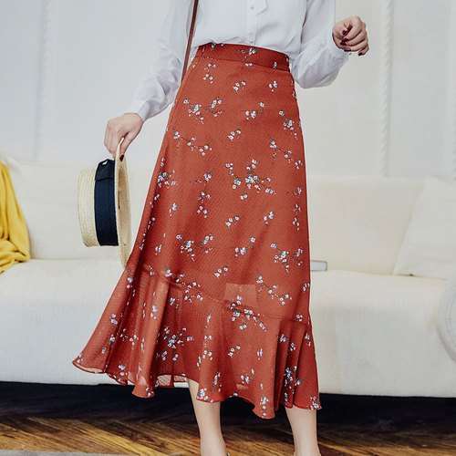Autumn women's 2018 new dignified retro floral print fishtail skirt dress