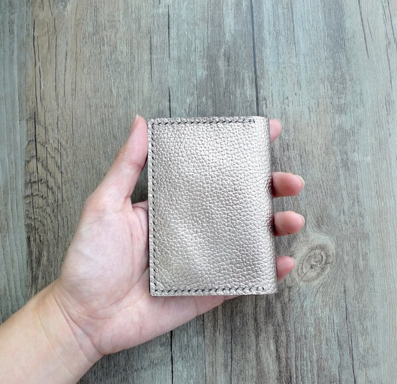 Misssheep - Genuine Leather Champagne Gold Simple Handmade Leather Card Holder
