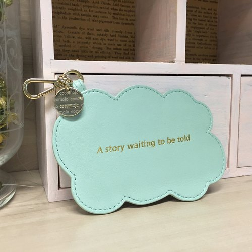 Blue Green Small Cloud Leather Luggage Tag / Tag Tiffany Blue