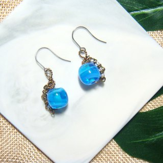 Grapefruit Lin handmade glass - Night listening to rain - Aqua system - Earrings (can be free of price change)