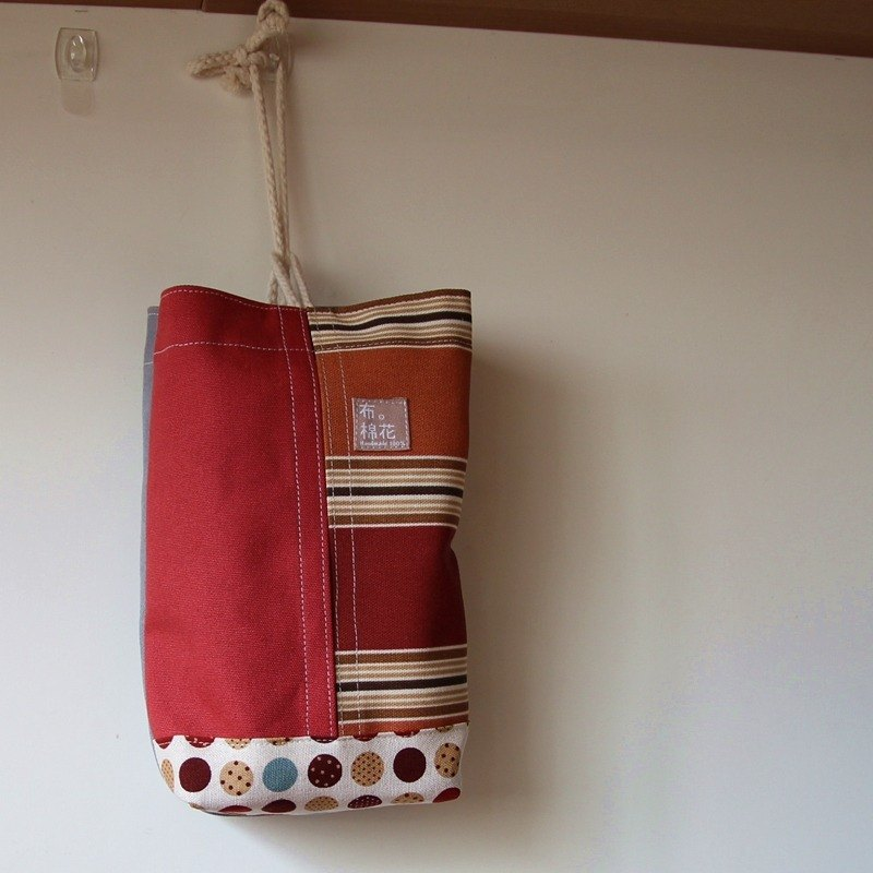 Cotton Fabric: canvas tissue box cover, Hanging Tissue Box, housewarming gift,  red canvas Spot