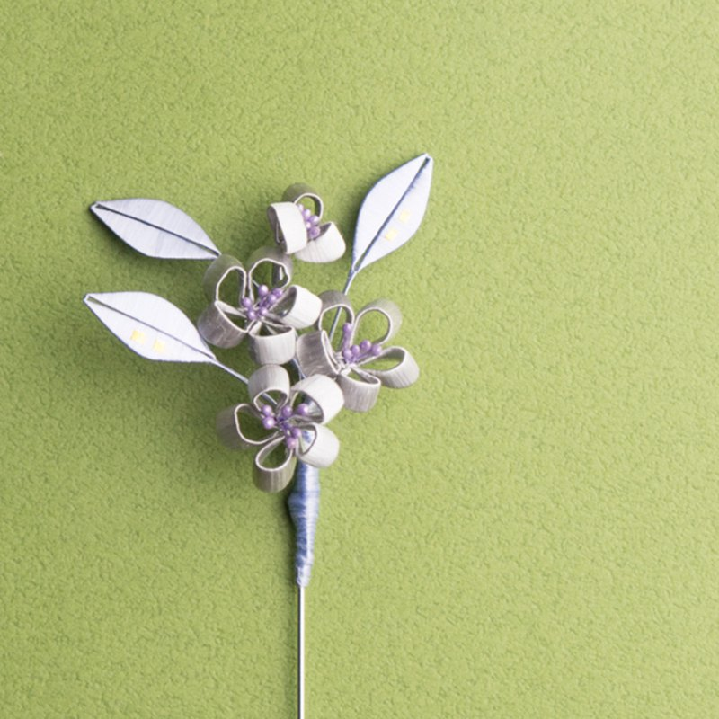 Wrapped flower brooch - snow plum bloom