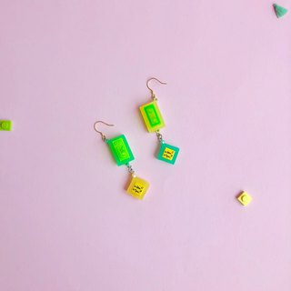 green yellow  building blocks  geometry earrings