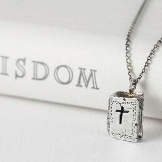 QLAM Handmade Sterling Silver Necklace - The Bible Ogre Old Bible - Gospel Jewelry - Cross Bible Book