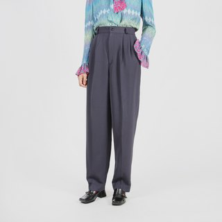 [Egg Plant Vintage] Fallen Silhouette Pleated Vintage Old Pants