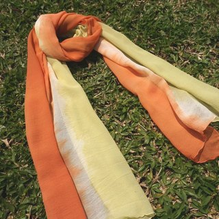 Mumu [vegetation] mulberry X madder dyed grass roots dyed orange green color georgette scarves
