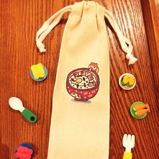 丼 猫 cat environmental protection straw / chopsticks set (cotton canvas) hand-printed Straw chopstick