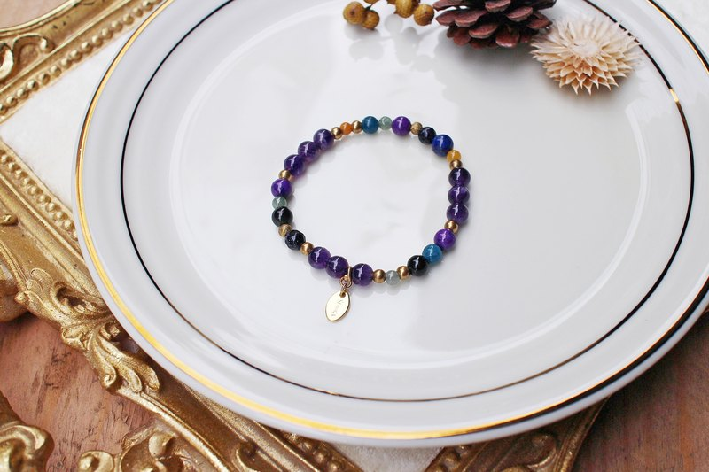 <Slow Temperature Natural Stone Series> C1107 Amethyst Bracelet