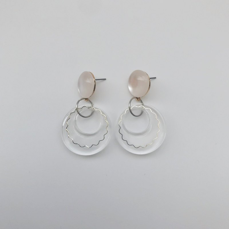 Marygo transparent biscuit circle. Earrings