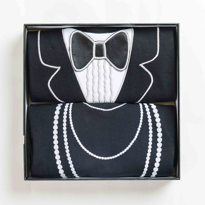 American Frenchie MC Adult Waterproof Bib 2 Piece Gift Box (Tuxedo & Pearl Necklace)
