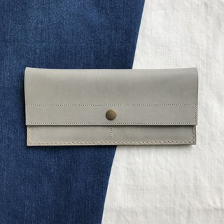 Leather long clip _4 card layer_1 banknote layer _ coin bag _ gray