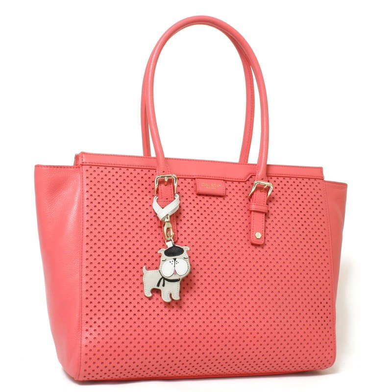 French Bulldog Perforated Leather Tote