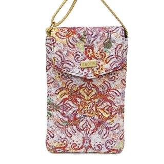 Queen flower texture painting jacquard cell phone pocket pink yellow -REORE