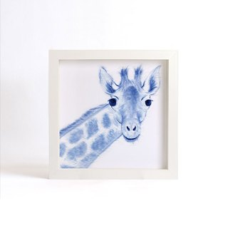 """Visit"" blue copy painting series - Giraffe (excluding frame)"