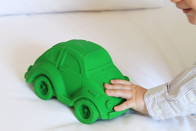 Spain Oli & Carol | Modern Dacron Trolley - Green | Natural Non-toxic Rubber Gutta / Bath Toys