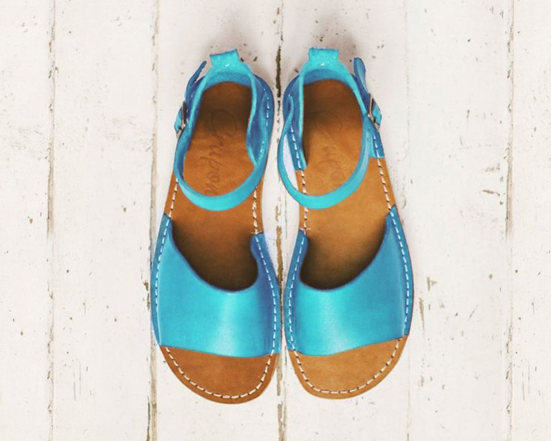 Turquoise Leather Sandals, Summer Sandals, Leather Sandals, Women Sandals