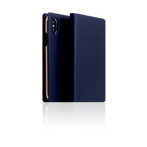 SLG Design iPhone X D5 CSL classic calf leather flip side leather case - navy blue
