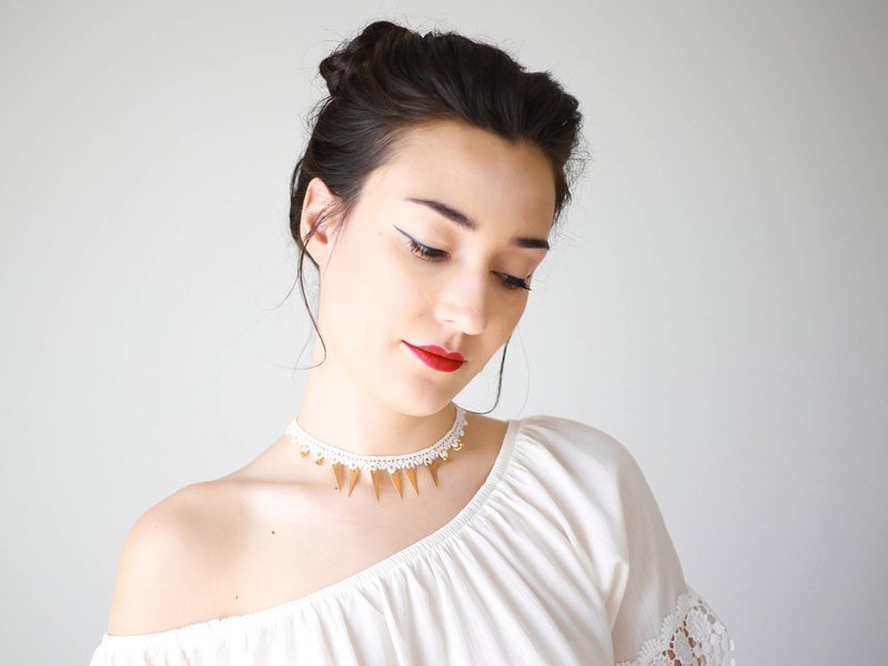 Gold Choker Lace Choker White Choker White Lace Choker Necklace Lace Necklace Geometric Necklace Bridal Necklace Bridal Choker / LORIRA