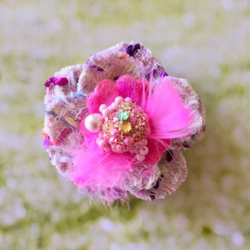 Corsage brooch No.3 corsage beads tweed accessory brooch
