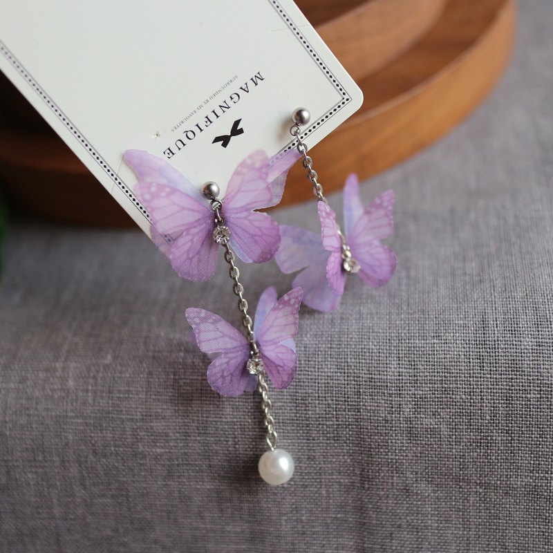 3D purple pink organza silk butterfly earrings pearl dangle long earrings gift