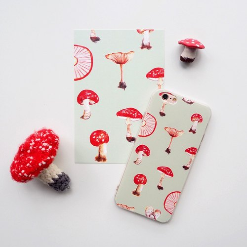 Psychedelic red mushroom / bump lines mobile phone case / case / iPhone8 / iPhonex / can be customized / hand-painted wind / mint green