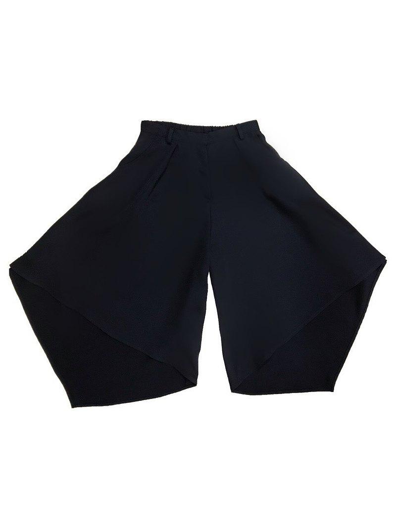 前短後長不規則寬褲