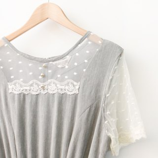 Vintage Romantic Lace Panel Leader Grey Short Sleeve Vintage Dress Vintage Dress