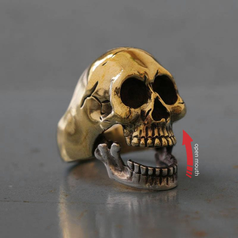 Mexican Biker Ring Skull sterling silver bone open mouth rock motorcycle brass