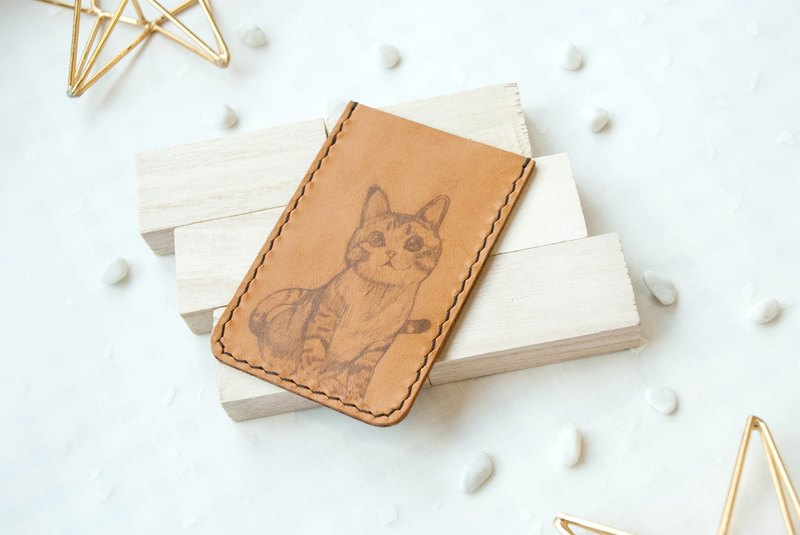 【Animal Series】Cat Leather Cardholder (Custom-made)