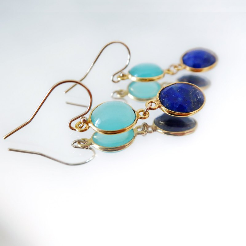 14KGF / AQUA CHALCEDONY LAPIS LAZULI EARRINGS