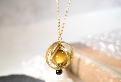 Big Big Planet with Golden Tiger's eye stone Long Necklace