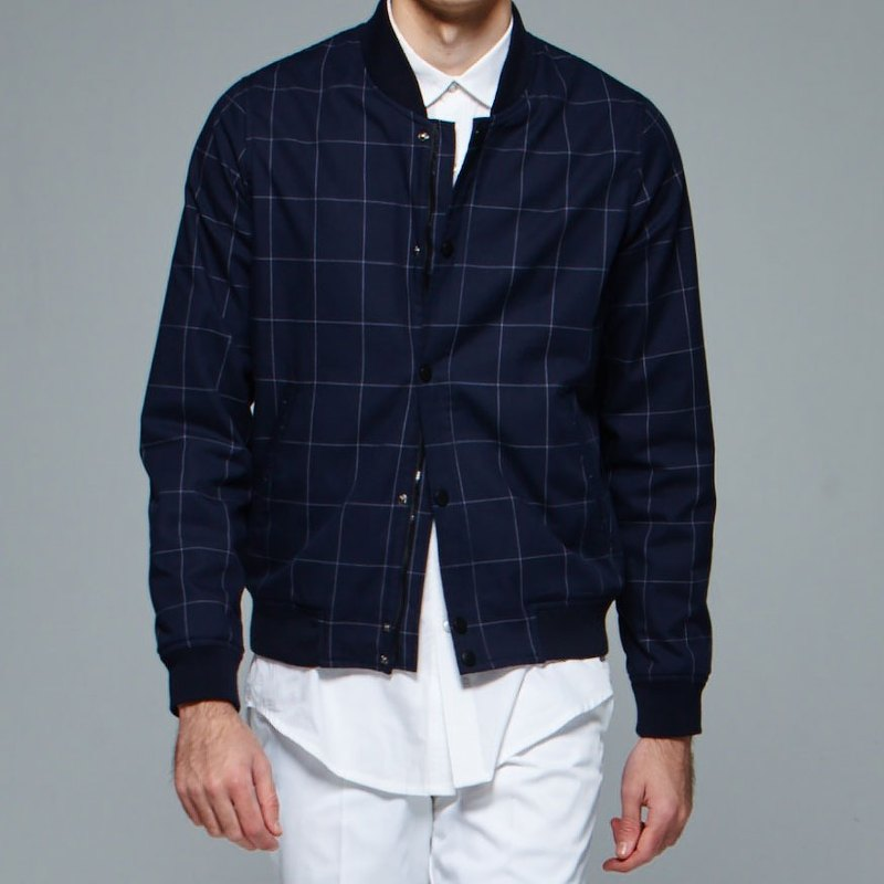 Stone'As Plaid MA1 In Navy / Dark Blue Pane MA-1 Plaid Plaid Jacket